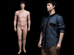 Adult Male Plus Size Fiberglass Realistic Mannequin With Molded Hair Face