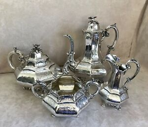 Victorian Sterling Silver 4 Piece Tea Coffee Set George Angell C 1852