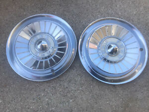 Pair 1957 Ford Fairlane Thunderbird Ranchero Hubcaps Wheel Covers 57