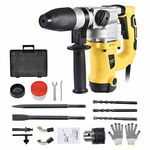 1300w 1 1 2 Sds Electric Rotary Hammer Drill Plus Demolition Chisel Bits Case