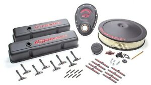 Proform 141 758 Engine Dress Up Kit Black Crinkle W Chevy Logo Fits Sbc