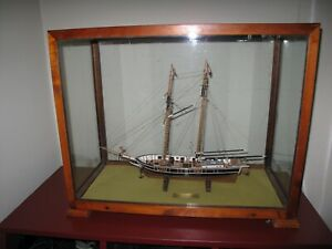 Wooden Model Of Cutter Ship Roger B Taney Ny 1833 In Glass Wood Display Case