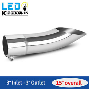 Bolt on Turn Down Exhaust Tip 3 Outlet 3 Outlet Stainless Steel Curved Pipe