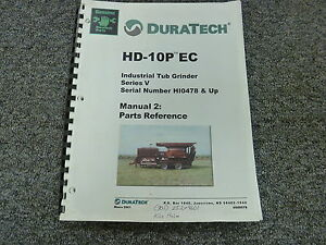 Duratech Hd10p Industrial Tub Grinder Parts Catalog Manual Book