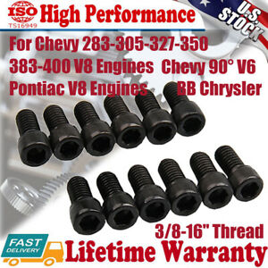 12pcs Header Bolts For Sb Chevy Allen Socket Pontiac Bb Chrysler 3 8 16 Thread