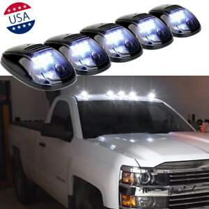 5x Smoked Lens Roof Top Cab Lights White Led For Chevy Silverado 1500 2500