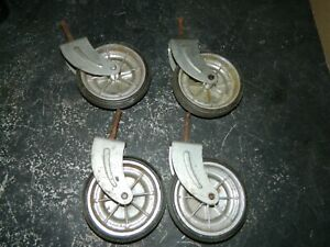 Set Of 4 4 Plated Hard Rubber Casters Wheels Vintage