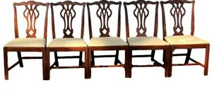 Set Of 5 Chippendale Straight Leg Mahogany Dining Chairs Mid 20th Century