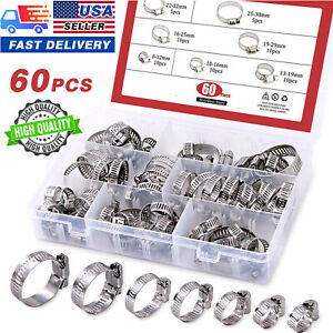 60x Stainless Steel Hose Clamp Set Adjustable Worm Drive Assortment Gear Clamps