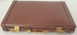Vtg Small Leather Brief Case Business Card Holder By L attache Usa Rare