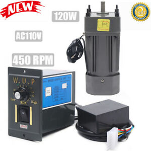 Ac110v 120w Gear Motor Electric Motor Variable Variable Speed Controller 450rpm