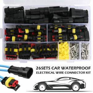 26 Sets Waterproof Car Auto Electrical Wire Connector Plug 1 4 Pin Way Plug Kit
