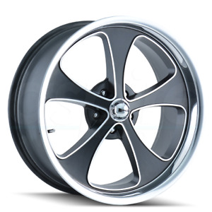 4 New 20 Ridler 645 Wheels 20x8 5 5x114 3 0 Black Polished Lip Rims