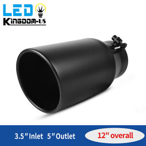 Diesel Exhaust Tip 3 5 Inlet 5 Outlet 12 Long Stainless Steel Rolled Edge