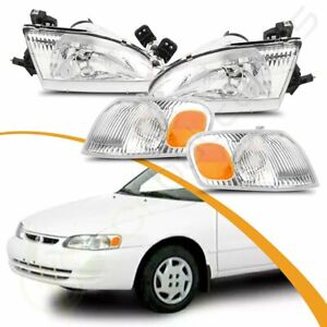 Headlights Assembly For Toyota Corolla 98 00 Chrome Housing Corner Projector