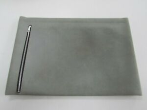 Document Folio Bag Unused Grey Faux Suede 17 By 12 Aetna Industries Inside