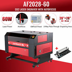 Omtech 60w 28 x20 Co2 Laser Engraver Cutter With Rotary Axis Ruida Autofocus
