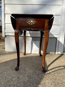 Vintage Statton Trutype Drop Leaf End Table W Drawer Solid Cherry Queen Anne B
