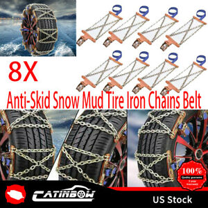 8x Snow Tire Chains For Car Suv Thickened Anti skid Emergency Strap Universal