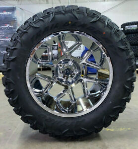 20x12 Vision Spyder Chrome Wheels 35 Atturo Mt Tires 6x135 Ford F150 Expedition