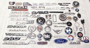 Lot Of 60 Vintage Used Car Emblems Ford Caddy Chrysler Bmw Fiat w More