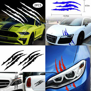 2 Pcs set Monster Claw Scratch Decal Reflective Sticker Car Headlight Decor Us