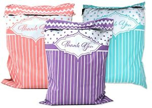 Thank You Collection Poly Mailers 10x13 Combo Lilac Pink Teal Shipping Mail
