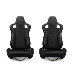 Pair Universal Pair Reclinable Racing Seat Pvc Bucket Sport Seat Chair 2 Sliders