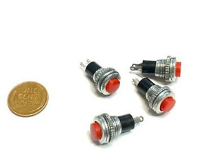4 X Push Switch 10mm Red Button Spst Momentary N o Off on Small Mini Ds 316 B8