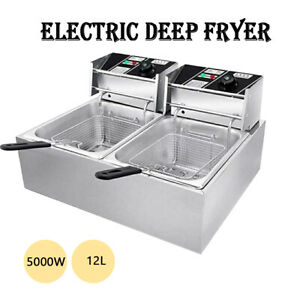 5000w 12l Commercial Electric Deep Fryer Dual Basket Restaurant Stainless Steel