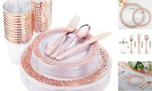 150 Pcs Rose Gold Plastic Plates Silverware Disposable Cups Rose Gold