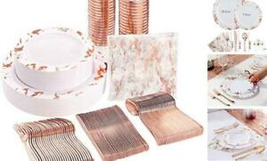 175pcs Rose Gold Marbling Disposable Plastic Plates And Silverware Rose Gold