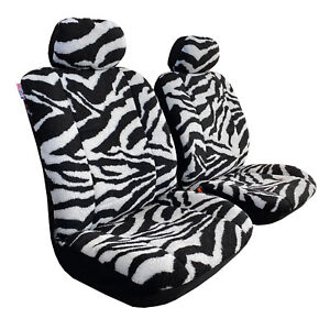 Zebra Design Faux Sheepskin Seat Covers Front Set Lambswool Airbag Safe
