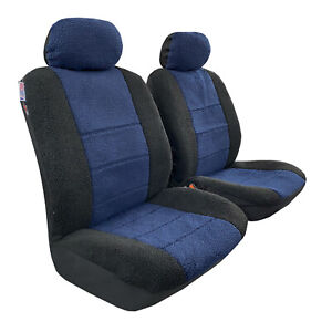 Navy Blue Black Faux Sheepskin Seat Covers Front Set Lambswool Airbag Safe