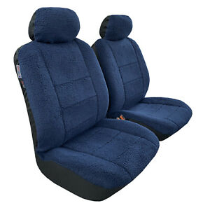 Navy Blue Faux Sheepskin Seat Covers Front Set Lambswool Airbag Safe