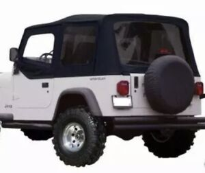 1988 1995 Jeep Wrangler Replacement Soft Top 9870215 Tinted Windows Black
