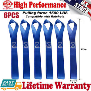 6x Soft Loop Tie Down Straps Ratchet 4500lbs For Motorcycle Dirt Bike Heavy Duty