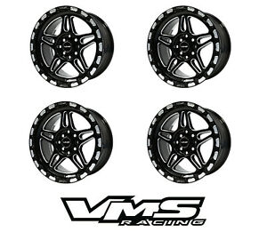 X4 Vms Racing Blackburn 15x7 5 Black Rims Wheels Set 5x114 Et20 Offset