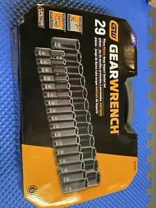 New Gearwrench 84935n 29 Pc 1 2 Drive 6 Point Metric Deep Impact Socket Set