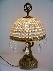 Old Antique Cherub Angel Lamp W Glass Beaded Shade Prisms Very Unique Finial
