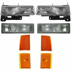 For Chevy C1500 Truck 1988 1993 Headlight Signal Side Markers Right Left Set