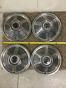 1964 1 2 1965 Ford Mustang Hubcaps Oem set Of 4 Used 13 Inch