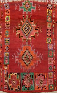 Vegetable Dye Authentic Moroccan Geometric Hand Knotted Oriental Area Rug 6x10