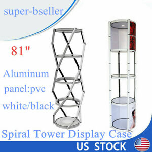 81 Aluminum Pvctwister Tower Display Case Five layer Potable W Top Led Light