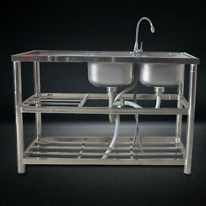 2 Compartment Stainless Steel Commercial Catering Kitchen Prep Sink 360 Faucet