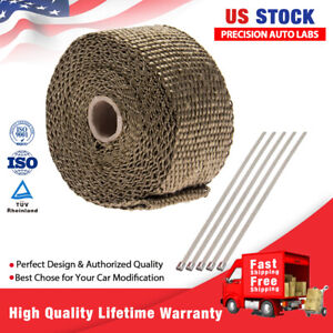 2 X 5m Roll Titanium Header Manifold Exhaust Heat Pipe Wrap Tape 5x Ties Kit