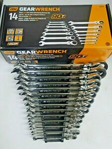 Gearwrench 14pc Sae 90t Ratcheting Flex Head Wrench Set 1 4 To 1 W Rack 86759