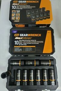 Gearwrench 10pc Deep Bolt Biter Impact Extractor Socket Set For Sae Met 86071