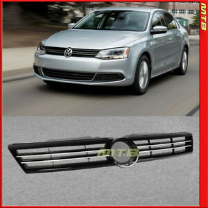 Glossy Black Front Grille For Volkswagen Jetta Sedan 2011 2014 Pp Chrome Trim