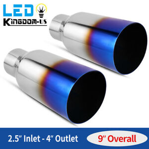 Pair Vacuum Blue Exhaust Tip Single Layer 2 5 inlet 4 outlet 9 long Stainless